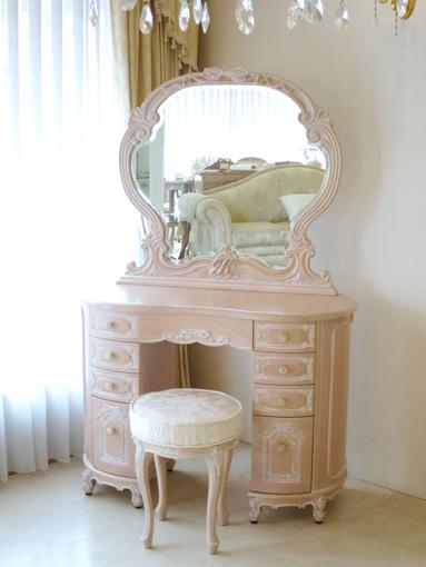 リボンの女優ドレッサー オードリー 一面鏡 イニシャルの彫刻 ピンクベージュ色 アン・ホワイトの張地