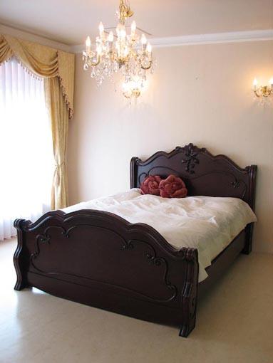 ラ・シェル ベッド ダブルサイズ ブラウン