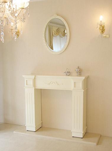 マントルピース スクエア W110×D20×H100 オードリーリボンの彫刻 ホワイトグロス色