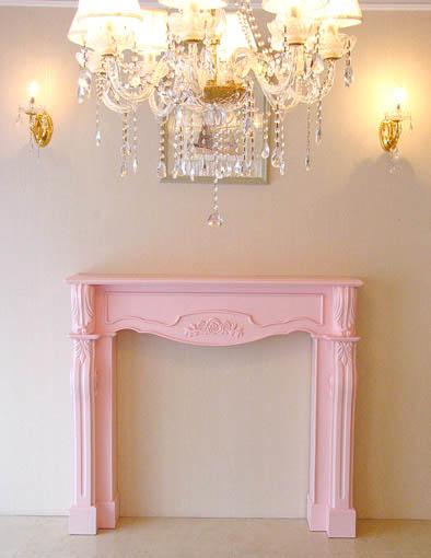 マントルピース シェル 薔薇の彫刻 バービーピンク色