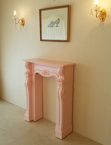 マントルピース シェル 薔薇の彫刻 W90cm バービーピンク色