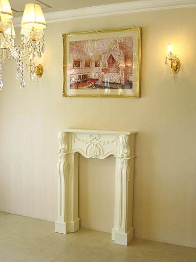 マントルピース シェルとリボンの彫刻 W85×D23×H115 ホワイト色