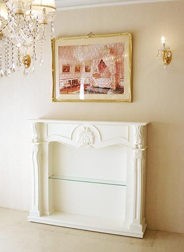マントルピース シェル ベース&バックパネル仕上げ ガラス棚付き ホワイト色