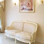 ソファ ベルサイユ 2シーター マーブルクリーム色 ゴールド花かご柄の張地のサムネイル