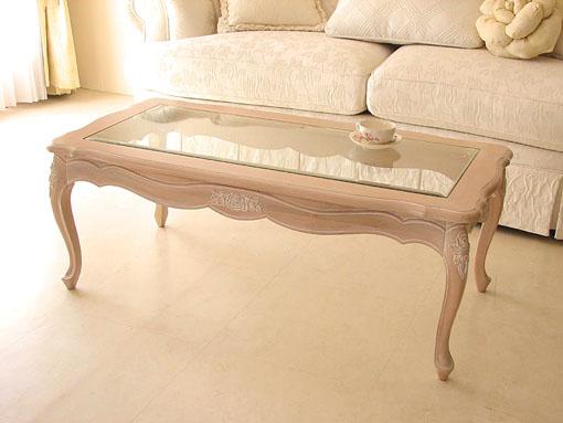 センターテーブル ガラストップ 薔薇の彫刻