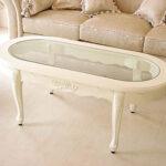 センターテーブル オーバル ガラストップ 薔薇の彫刻 ホワイトのサムネイル