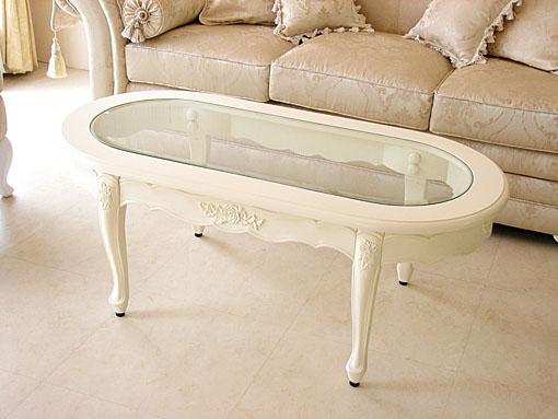 センターテーブル オーバル ガラストップ 薔薇の彫刻 ホワイト