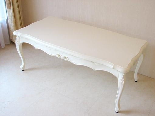 ラ・シェル センターテーブル引出し付き リボンの彫刻 ホワイト色