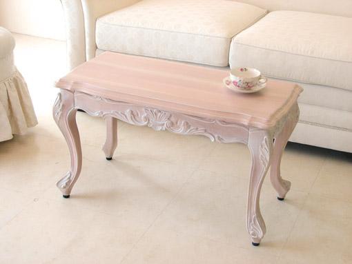 ビバリーヒルズ センターテーブル引出し付き W80 ピンクベージュ色