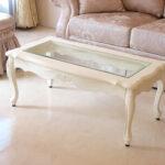 ラ・シェル センターテーブル ガラストップ 薔薇の彫刻 ホワイト色 W100×D50×H40のサムネイル