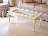 ラ・シェル センターテーブル ガラストップ 薔薇の彫刻 ホワイト色 W100×D50×H40