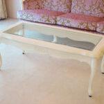 ラ・シェル センターテーブル ガラストップ 薔薇の彫刻 ホワイト色のサムネイル