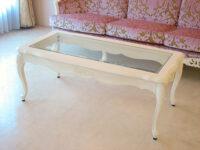 ラ・シェル センターテーブル ガラストップ 薔薇の彫刻 ホワイト色