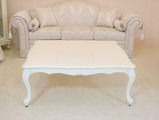 ビバリーヒルズ センタテーブル シェルの彫刻 W120×D120 ホワイト色