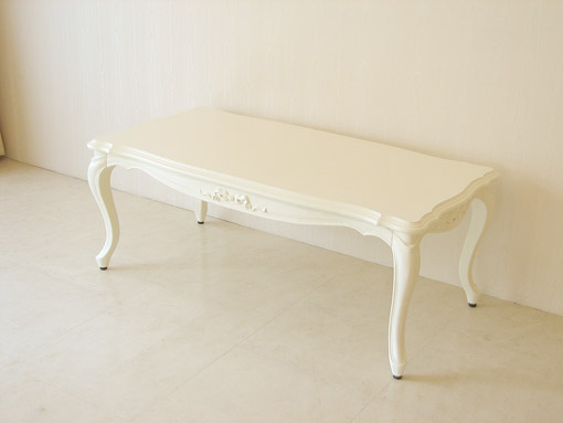 センターテーブル オードリーリボンの彫刻 ホワイト色