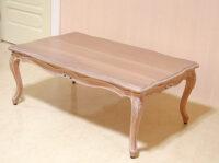 ラ・シェル コタツテーブル リボンの彫刻 ピンクベージュ色