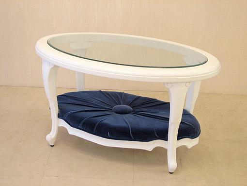 センターテーブル 布張りタイプ ホワイト色 ブルーのベルベット