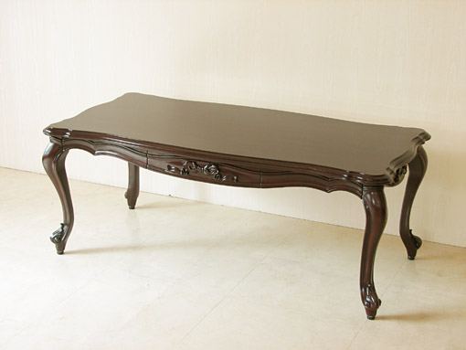 ビバリーヒルズ センターテーブル 引出し付き 脚の彫刻なし オードリーリボンの彫刻 ブラウン色