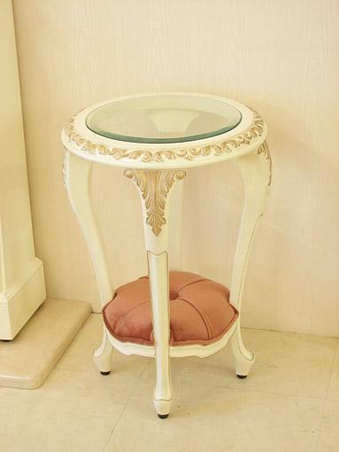 サイドテーブル ラウンド ガラストップ ロココスタイル アンティークホワイト&ゴールド色