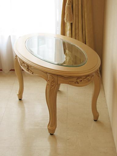 センターテーブル オーバル ガラストップ オードリーリボンの彫刻 ゴールド色