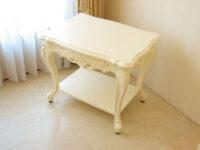 ビバリーヒルズ サイドテーブル 収納棚付き ホワイト色
