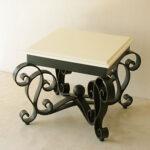 アイーダ アイアン サイドテーブル ブラック色 ウッド天板 ホワイト塗装のサムネイル