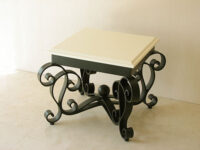 アイーダ アイアン サイドテーブル ブラック色 ウッド天板 ホワイト塗装