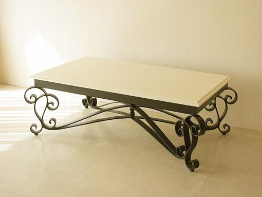 アイーダ アイアン センターテーブル ブラック色 ウッド天板 ホワイト塗装