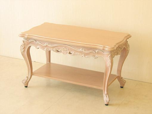 ビバリーヒルズ サイドテーブルW80×D45 収納棚付き ピンクベージュ色