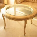 センターテーブル ラウンド ガラストップ オードリーリボンの彫刻 ゴールド色のサムネイル
