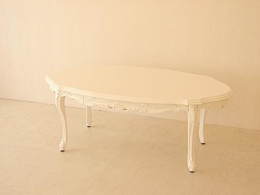 センターテーブル オーバル 引出し付 ビバリーヒルズの彫刻 ホワイト色