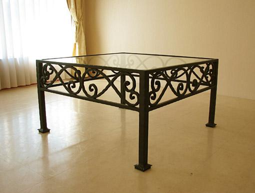 アイアンセンターテーブル ブラック W80×D80