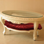 センターテーブル オーバル ロココスタイル ガラストップ 布張り マリーアントワネットの張り地 シェルの彫刻 ホワイト色のサムネイル
