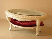センターテーブル オーバル ロココスタイル ガラストップ 布張り マリーアントワネットの張り地 シェルの彫刻 ホワイト色