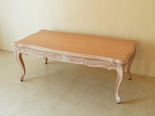 ビバリーヒルズ センターテーブル 薔薇の彫刻 ピンクベージュ色