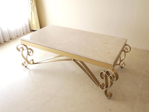 アイアンセンターテーブル アイーダ ゴールド色 クリームベージュ 大理石天板 130×70