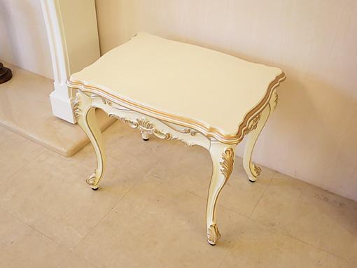 ビバリーヒルズ サイドテーブル 高さ:50cm アンティークホワイト&ゴールド色