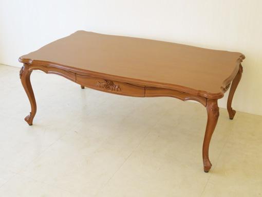 ビバリーヒルズ センターテーブル 120×70cm 引出し付 薔薇の彫刻 マイエル色