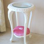 サイドテーブル ラウンド ロココスタイル ガラストップ 薔薇の彫刻 布張り ベビーピンクの張地のサムネイル