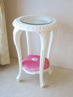 サイドテーブル ラウンド ロココスタイル ガラストップ 薔薇の彫刻 布張り ベビーピンクの張地