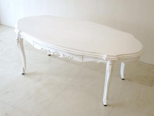 ビバリーヒルズ センターテーブル オーバル 引出し付き シェルの彫刻 マダム・ココ色
