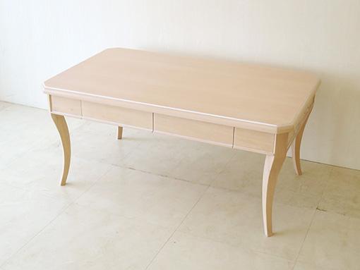 センターテーブル 引出し2杯 W100cm 左右側面にオードリーリボンの彫刻
