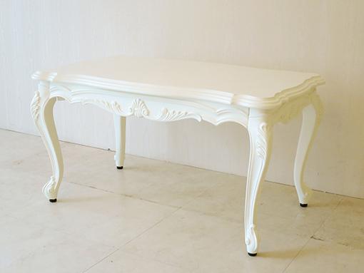 ビバリーヒルズセンターテーブル W85×D50cm シェルの彫刻 ホワイト色