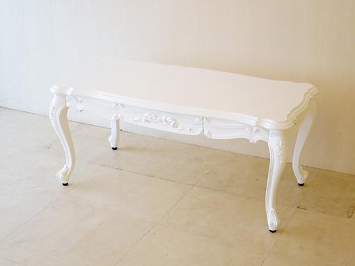 ビバリーヒルズセンターテーブル W100×D50cm オードリーリボンと薔薇の彫刻 スーパーホワイト色
