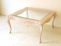 ラ・シェル センターテーブル ガラストップ W90cm 正方形