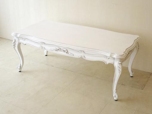 ビバリーヒルズ センターテーブル オードリーリボンの彫刻 ホワイト&ブラックアンティーク色