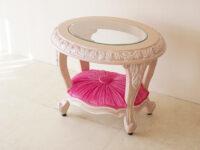 センターテーブル オーバル W60cm ロココスタイル ピンクベージュ色 ガラストップ 布張り ショッキングピンクベルベットの張り地
