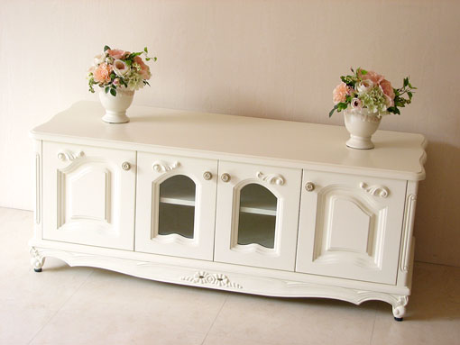 TVボード120 猫脚 リボンの彫刻 ホワイト