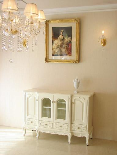 サイドボードW130 薔薇の彫刻 ホワイトグロス色