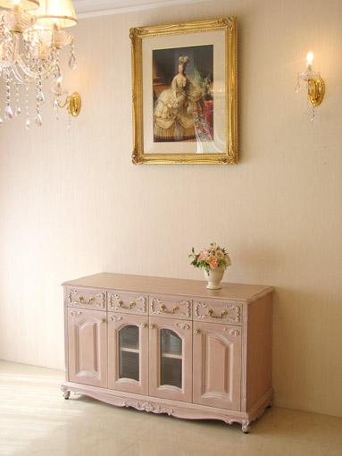 TVボード W120×H70 シェルの彫刻 ピンクベージュ色